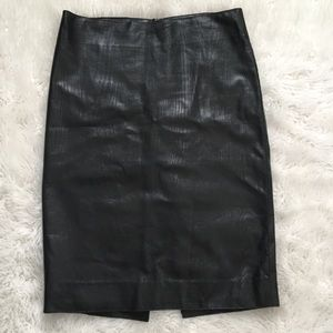 Tufi Duek Genuine Leather Pencil Skirt Sz Small